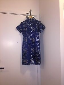 Beautiful Blue Qipao/Cheongsam Dress with Silver Floral Blossoms