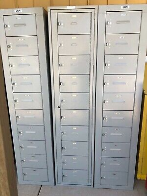 10 Door Locker Metal Laptop School Gym Employee Lockers Grey Cabinet Nice