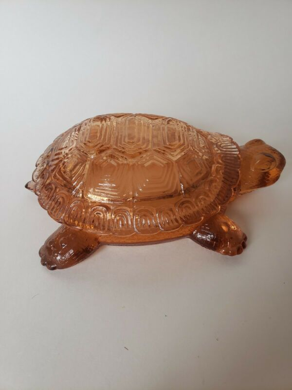ANTIQUE GLASS TURTLE w/ LID, Rare Westmoreland, Mint Collectible, Pink-Orange