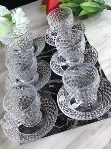12pc Designer Glass Turkish Arabic Tea Coffee Serving Set 6 Cups 6 Saucers 140ML
