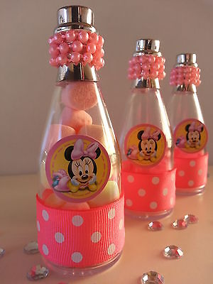 12 Minnie Mouse Fillable Champagne Bottles Baby Shower Favors Game Girl - Minnie Mouse Birthday Games