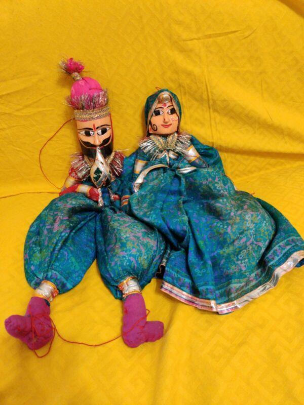 2 Vintage Indian Handmade Hanging Puppet Dolls Rajasthani Kathputli Folk Art