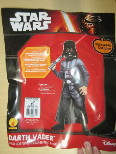 NWOT Star Wars Darth Vader Boys Med Dress Up Costume Cosplay