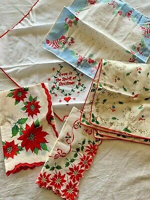 Vtg Christmas Handkerchief Hankie LOT of 5 Children's Poinsettia Snowman