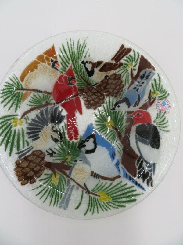 PEGGY KARR GLASS, INC., RETIRED 8-INCH FESTIVE BIRDS BOWL