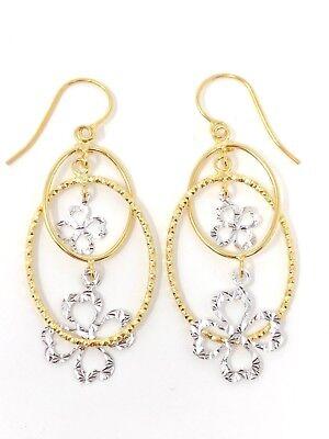 Italian 14k Two Tone Gold Oval Four Leaf Clover Dangling Earrings 2