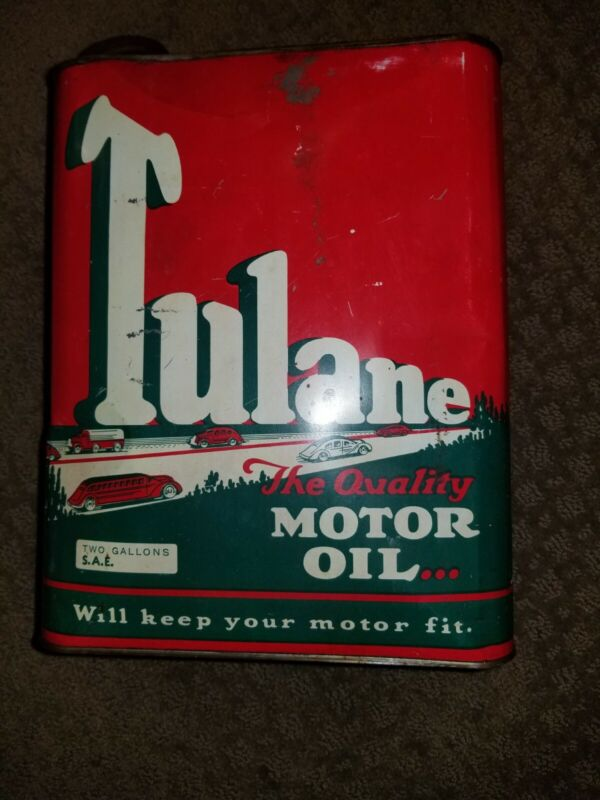 RARE Vintage 2 GALLON TULANE CAR GRAPHICS MOTOR OIL CAN Gas Station Advertising