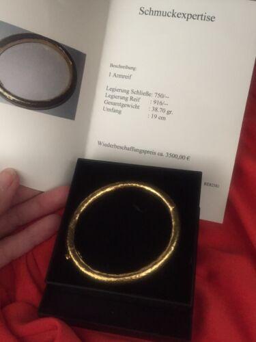 Goldarmreif 22Karat 916 Gold  18Karat 750 Gold 38,70 gr.