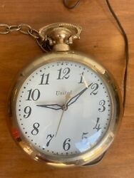 Vintage Large United Clock Corp Electric Pocket Watch Wall Clock