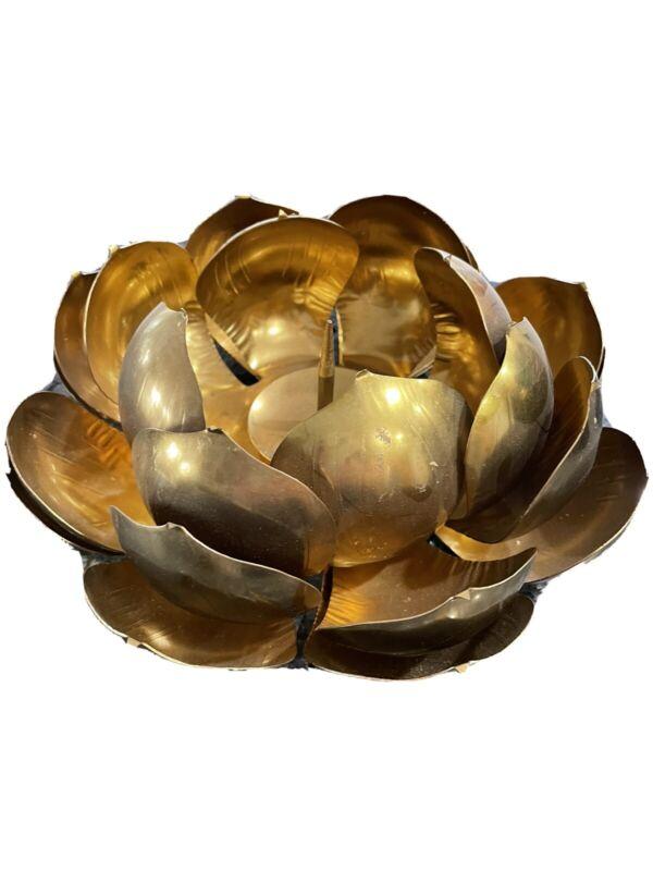 Vintage Metal Candle Holder Lotus Flower Petal Gold / Brass Tone  Robin Son's