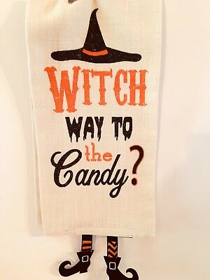 HALLOWEEN WITCH WAY TO CANDY KITCHEN TEA TOWEL WITCH HAT AND DANGLING LEGS