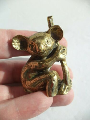"2"" UNIQUE VINTAGE SOLID BRASS KOALA BEAR IN TREE FIGURINE SCULPTURE MINIATURE"
