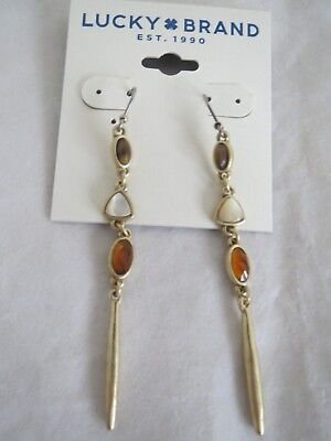 Lucky Brand gold tone tiger eye~white~orange stone drop earrings, NWT