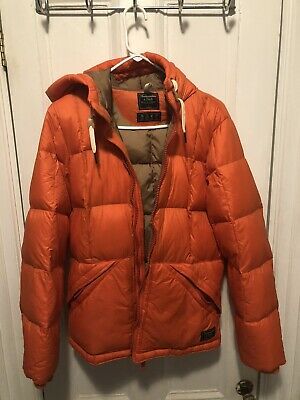Men's Orange Hooded Down Puffer Jacket By Abercrombie & Fitch, Size Large