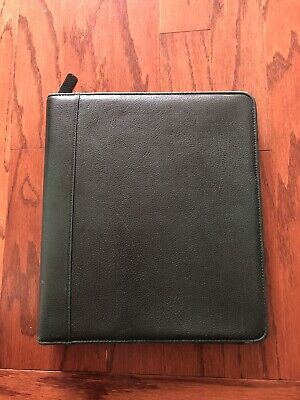 Franklin Covey Planner Cover Quest Green Pebbled Leather Zip 7 Hole Ring