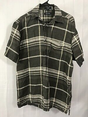 Nautica Mens Size M Gray Black Striped Linen Button Up Shirt Short Slv Collared