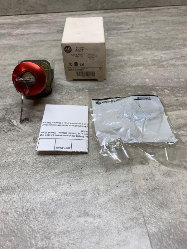 Allen Bradley 800T-E24M6A Keyed Mushroom Head Cylinder Lock Push Button, New