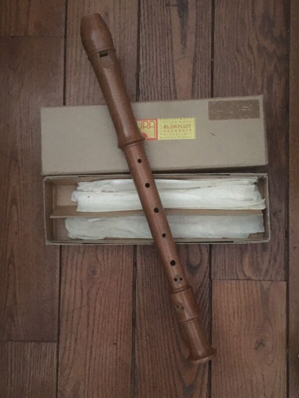 Vintage AURA Pear wood Alto Baroque Blokfluit Recorder Double Hole Kid Free Home