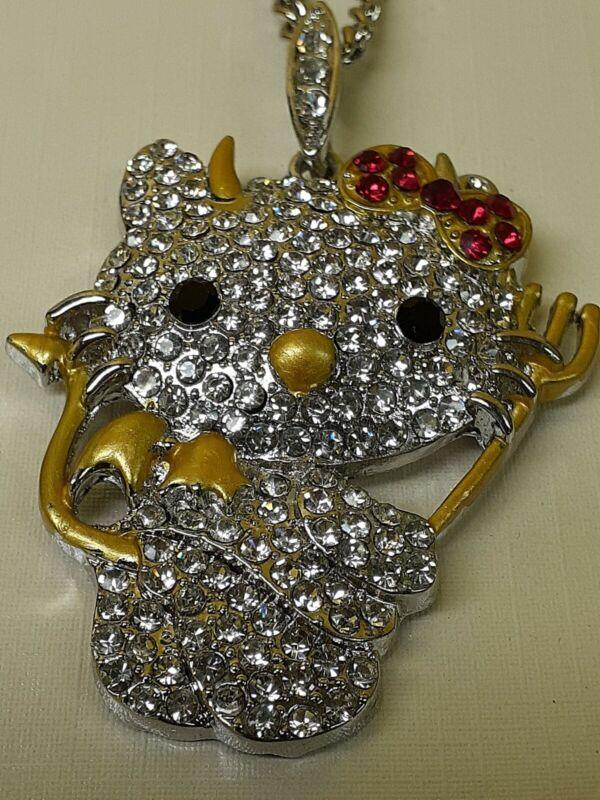 Hello Kitty Rhinestone Devil Kitty Pendant Necklace