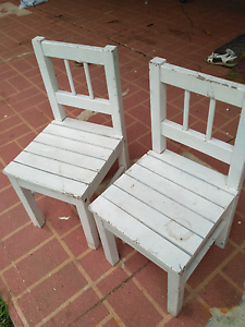 2 x timber children's chairs white. Solid quality. Denistone East Ryde Area Preview
