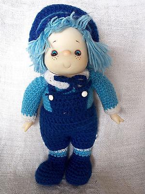"""Blue Hand Made Crochet Yarn Doll Handmade Vintage Vinyl Face 15"""" Tall"""