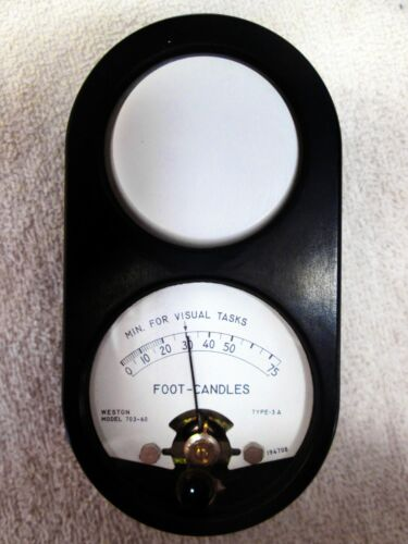 USED WESTON INSTRUMENTS MODEL 703-60 FOOT-CANDLE LIGHT METER, METAL BODY NO-CASE