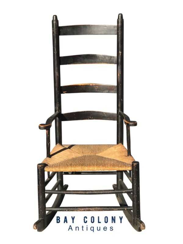 18TH C ANTIQUE QUEEN ANNE COUNTRY PRIMITIVE LADDER BACK ROCKING ARM CHAIR
