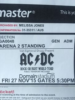 ACDC tickets x 2 (GA2) Friday 27th November Sorrento Joondalup Area Preview