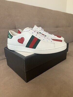 Womens 38 Uk 5 | 5.5 | Gucci Ace Sneaker Heart Designer Leather GG Bee Trainers