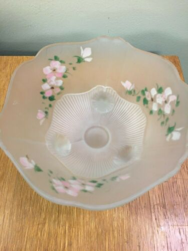 Anchor Hocking Frosted Pink Mayflower Open Rose Footed Plate