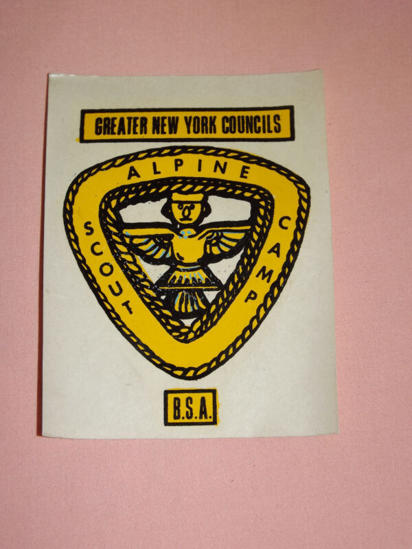 VINTAGE BSA BOY SCOUTS GREATER NEW YORK COUNCILS ALPINE SCOUT CAMP DECAL