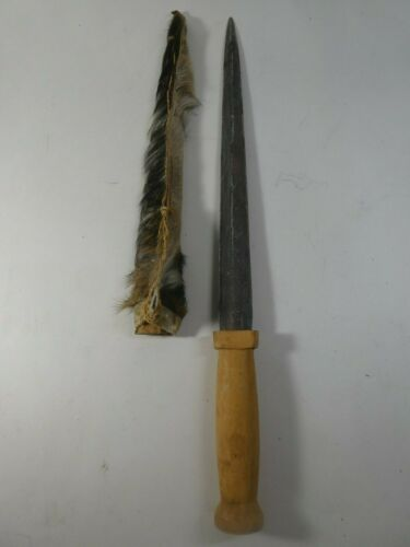 Vintage Native American Indian Knife Sword w/ Cow Hair Sheath