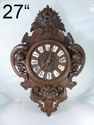 27 Large Antique French Black Forest Carved Oak Wood LION Wall Clock 1855