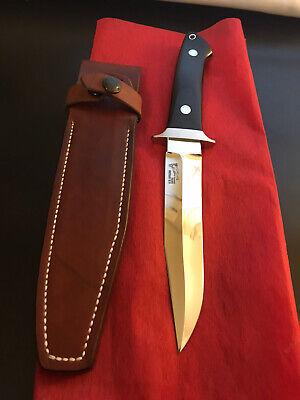"R.W. Loveless Knives Custom 6"" Fighter-Double Nude Lady Logo-blk Micarta -Sheath"