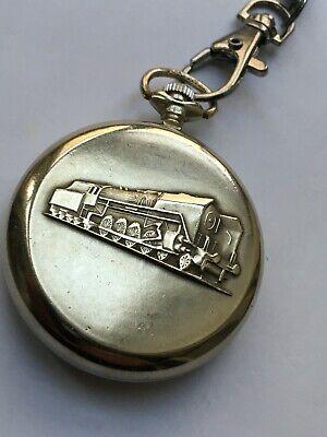 RARE VINTAGE SOVIET POCKET WATCH MOLNIJA TRAIN 3602 18 JEWELS TOP RRR CCCP CHAIN