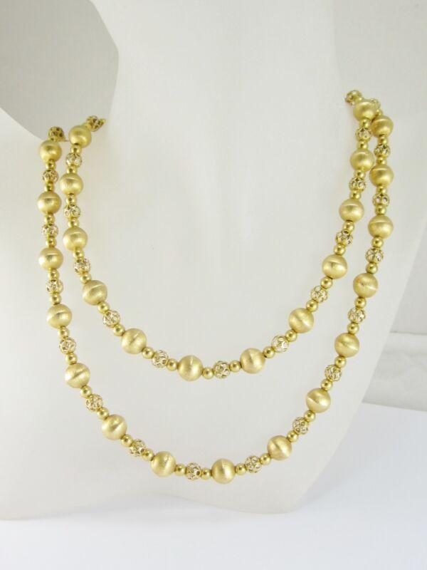 "Stunning Ladies 14k/18k Yellow Gold Beaded Necklace 36.5"" 77.2g Gia $6,997.00"