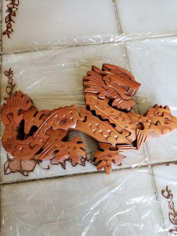 Art 3D DRAGON PUZZLE Asian Oriental Sculpture Decor Carved Wood TEAK? Wall Table
