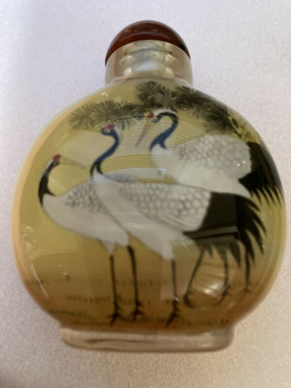 """VINTAGE Beautiful CHINESE REVERS PAINTED SNUFF BOTTLE 3"""" Tall"""