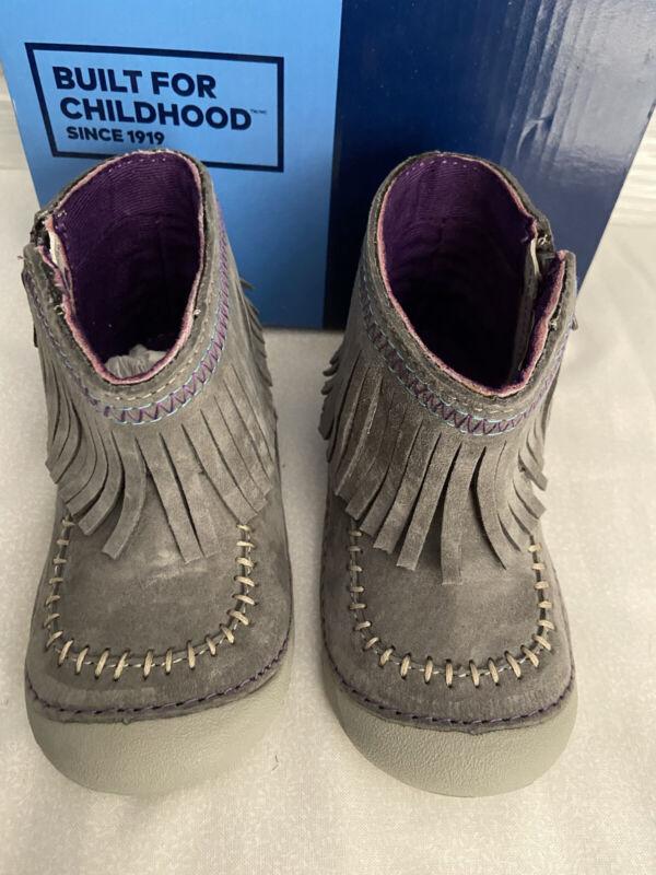 StrideRite Tasha Gray Baby Girl boots Shoes US Size 3, 4, 5, 6