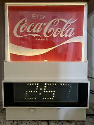 Vintage 1976 Everbrite Digital Coca Cola Wall Clock Working .99 NR Man Cave!