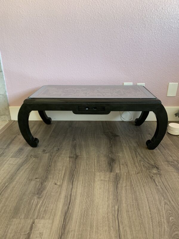 Antique Asian Opium / Coffee Table Hand Carved One Drawer