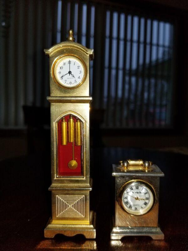 2 Brass Miniature Grandfather Clocks