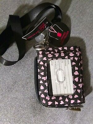 No Boundaries Ladies Lanyard Cardholder ID Holder Black With Pink Hearts NEW Heart Card Holder