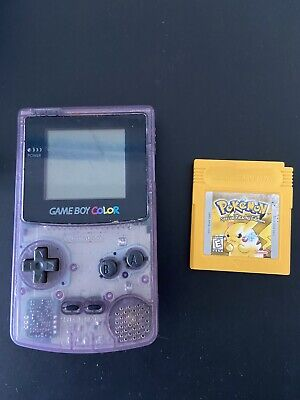 Atomic Purple gameboy color with Authentic Pokemon Yellow Read Description