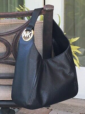 MICHAEL KORS FULTON LARGE HOBO SHOULDER BAG PURSE MK BLACK LEATHER GOLD $398