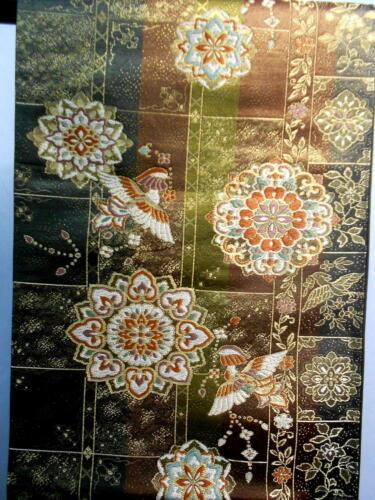 "Japanese Kimono SILK Fukuro OBI, Rokutu ,Gold thread/foil,Flower bird,L165"".1625"