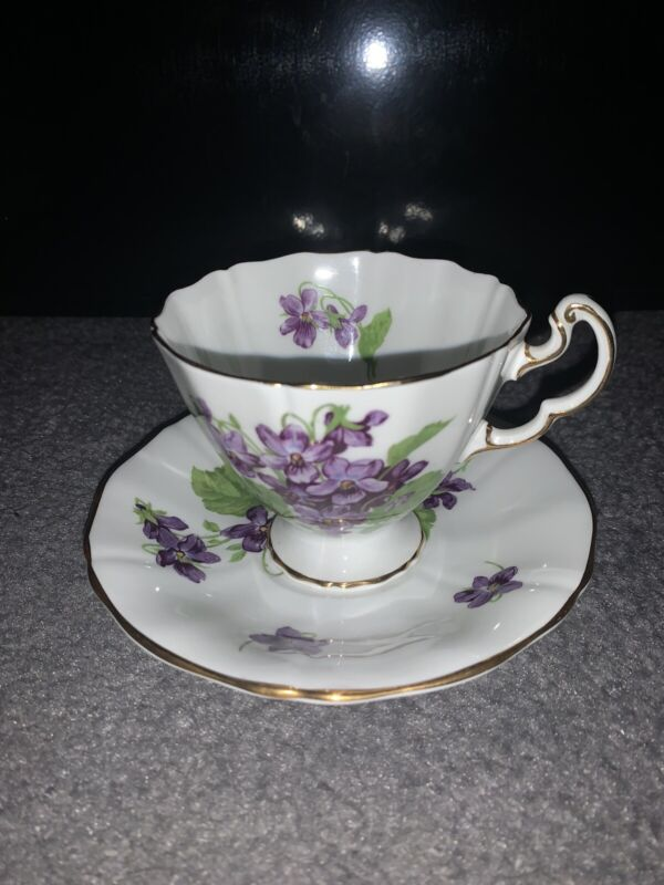 Vintage Adderley Fine Bone China Purple Violets Tea Cup and Sauce England