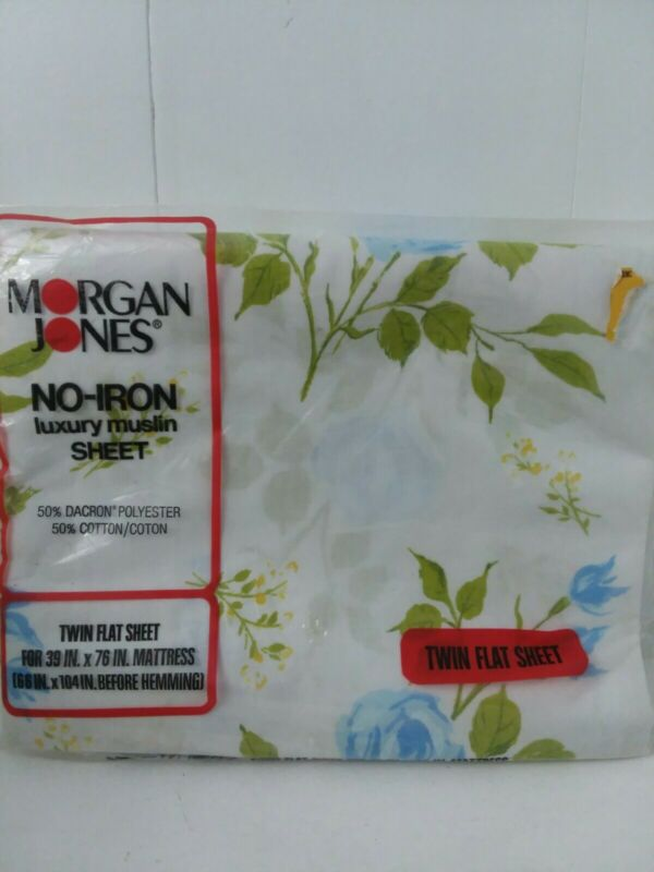 Vintage Morgan Jones No Iron Luxury Muslin Twin Flat Sheet Rapture Rose Print