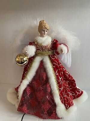 "Vintage Plug-In Light Up Angel Christmas Tree Topper w/ Wings 11"" *Small Tear*"