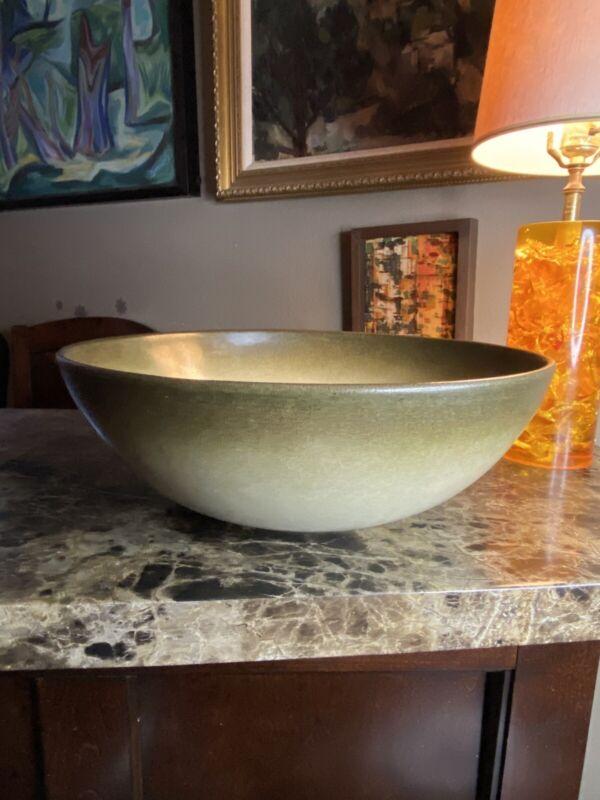 "Heath Ceramics 14-1/2"" Diameter Salad/Serving Bowl Sea And Sand Glaze Rare"